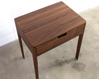 Nightstand in Solid Walnut/Oak Wood, Bedside Table with Drawer, Mid-Century Modern Nightstand  , Scandinavian Style /free shipping