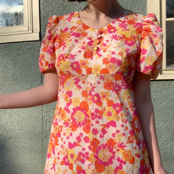 Handmade 70s Empire Waist Dress