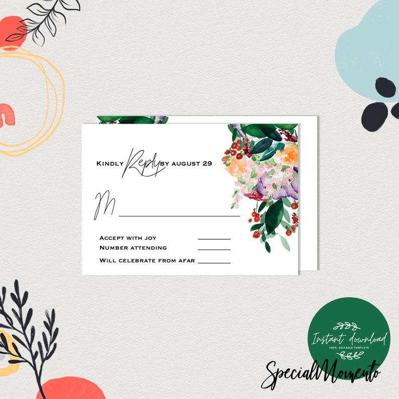 Printable Invitation Wedding Template Leaf Woods Theme Wedding Invitation Garden Invitations Modern Wedding Invitation Set RSVP Template