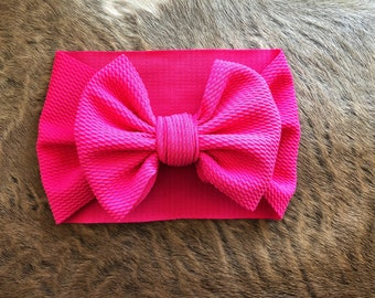 Ruffle Hot Pink Boutique Hair Bow or Baby Headband,Ruffled Ribbon Baby Headband,Hot Pink Baby Bow Clip,15 Color Choices Toddler Hair Clips