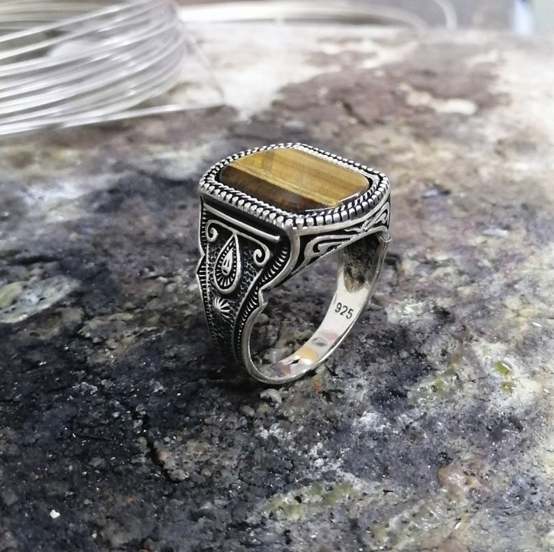 Handmade 925 Sterling Silver Men/'s Ring With Natural Tiger Eye Stone