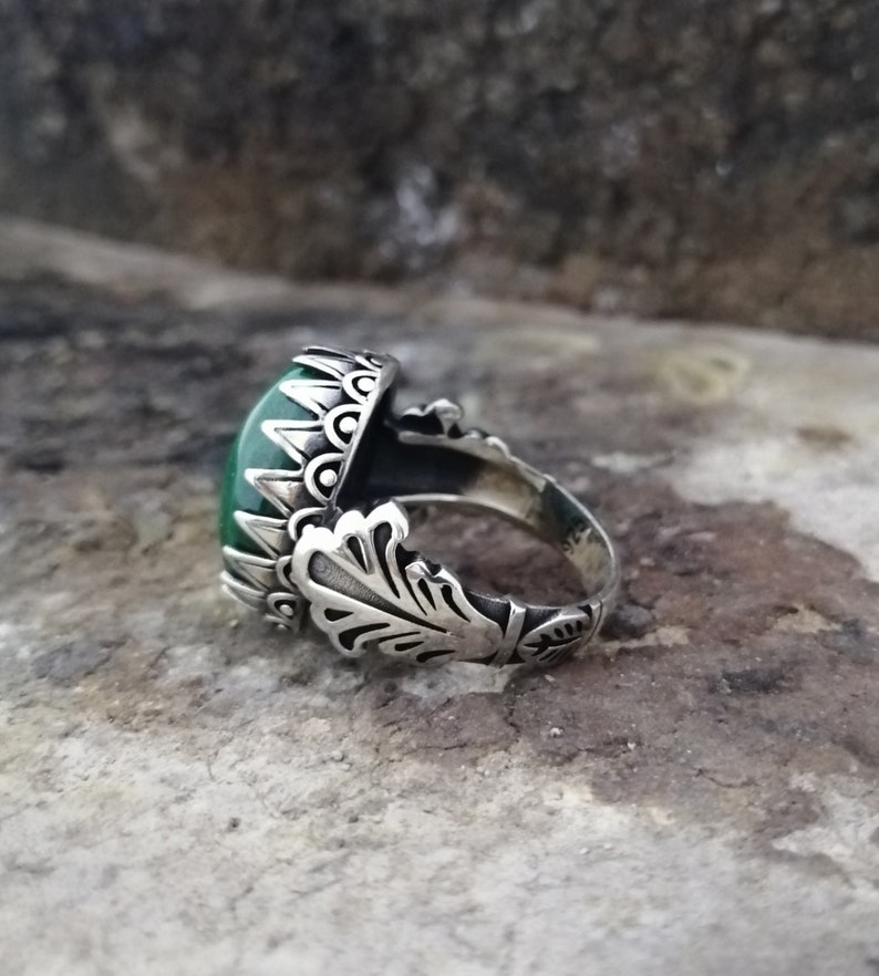 Handmade 925 Sterling Silver Men/'s Ring With Natural Malachite Stone