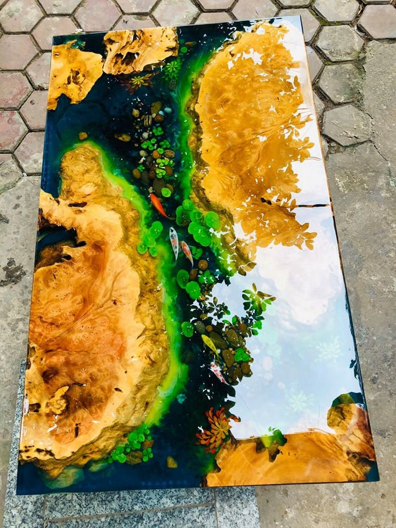 Live Edge Countertop Epoxy, Wood And Resin River countertop