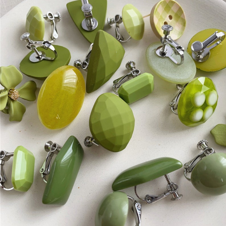 5 pairs Avocado color earring studsEar clipsBridesmaid GiftsGifts for her