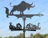 Bull Metal Weathervane for roofs, Weathervane Outdoor, Weathervane Garden, Weathervane Copper, Farm House Decor