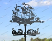 Pirate Ship Metal Weathervane for roofs, Weathervane Outdoor, Weathervane Garden, Weathervane Copper, Farm House Decor, Weathervane cupola