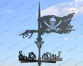 Pirate Flag Metal Weathervane for roofs, Weathervane Outdoor, Weathervane Garden, Weathervane Copper, Farm House Decor, Weathervane cupola