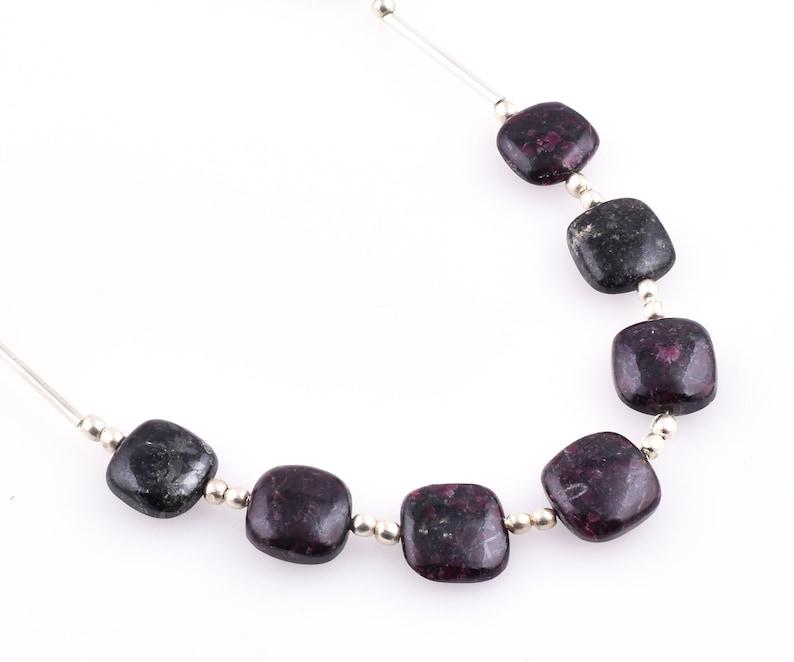 12mm-13mm Eudialyte Beads Eudialyte Handmade Beads Eudialyte Smooth Beads Eudialyte Cushion Shape Beads 7 Pcs Eudialyte Gemstone Beads