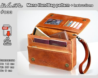leather men's hand bag template - printable scaled files (pdf) - hand bag pattern