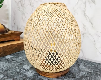 Beautifully Woven Bamboo Wicker Lamp with Wooden Base, Boho lamp, Small Bedside Table Lamp, Rustic Desk Lamp, Farmhouse Decor, Wood Lighting