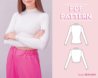 Womens mock neck long sleeve top & crop top | Tanith Turtleneck Sweater | US 0-16 | PDF sewing pattern | A0, A4, US letter