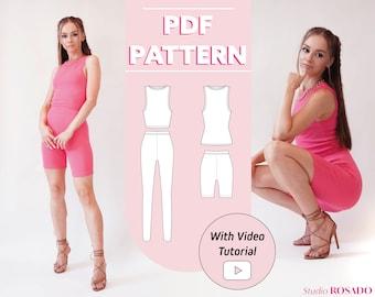 Bundle | Womens high-waist leggings & bike shorts, Mia Tank Top and Crop Top | EU 34-44 | PDF sewing pattern | A0, A4, US letter