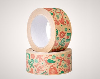 Christmas Eco-friendly kraft paper tape, Self-adhesive packaging tape, Recyclable zero waste eCommerce packing for winter holidays