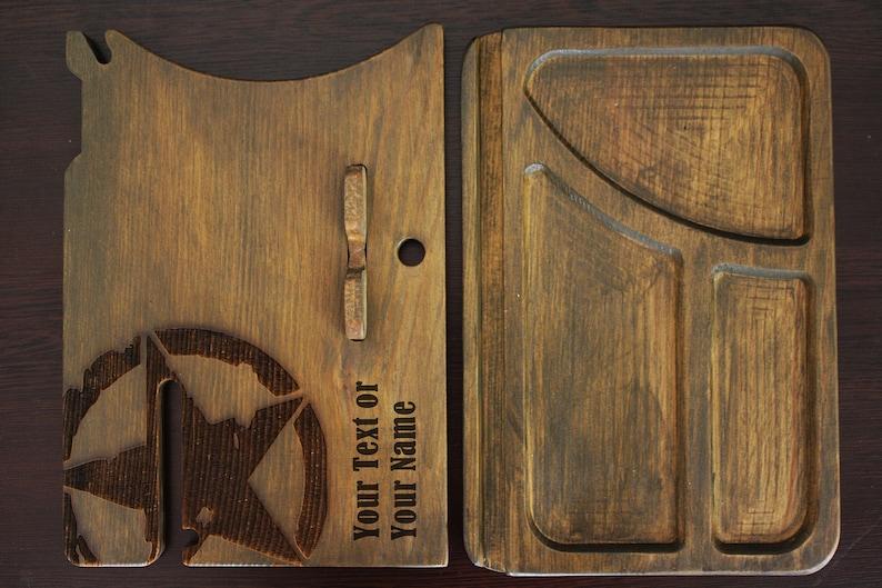 ARMY STAR Design organizer,Wooden Docking Station,wooden organizer phone holder Gift for husband and Dad,men birthday gift,anniversary day