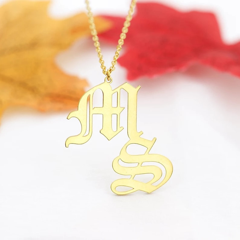 18KCustom Old English Initials Necklace Double Letters Pendant NecklacePersonalized Name NecklaceName Plate NecklaceBridesmaid Gifts