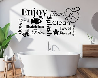 BATHROOM Sticker Decal RELAX CHILL ENJOY UNWIND Quote Wall Art Removable DIY