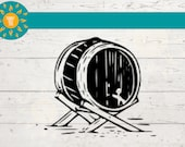 WHISKEY BARREL SVG, Aged Wine Barrel Png, Beer Keg Clipart Bar Art Sketch for Alcohol Lovers Commercial Use Image Cut File for Cricut