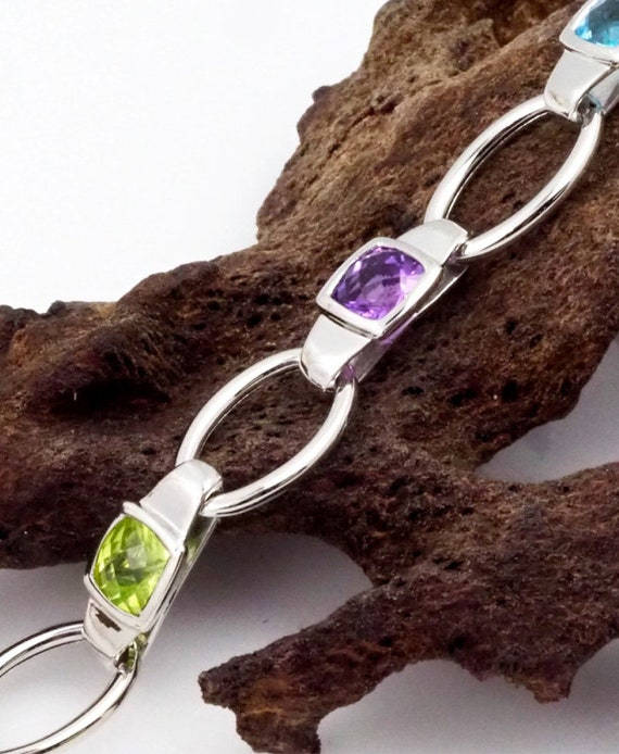 White Gold Bracelet . Assorted Gemstones Bracelet… - image 4
