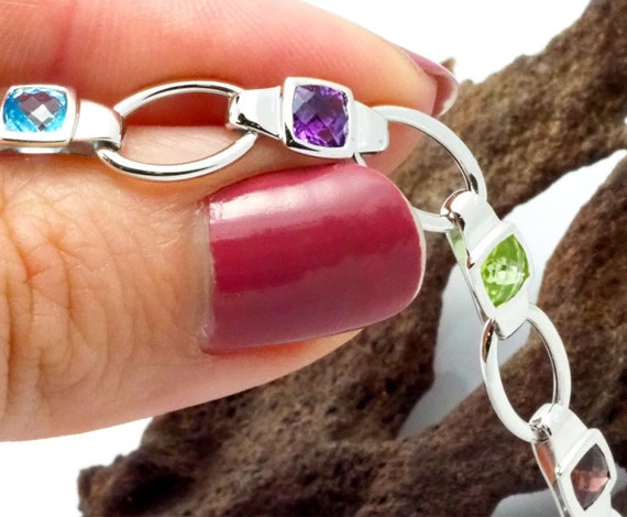 White Gold Bracelet . Assorted Gemstones Bracelet… - image 3