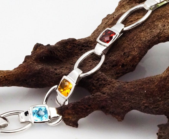 White Gold Bracelet . Assorted Gemstones Bracelet… - image 2