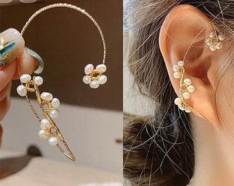 Dainty Flower Pearl Ear Wrap, Delicate Ear Wrap, Gold Pearl Flower Ear Cuff, No Piercing, Flower Vine