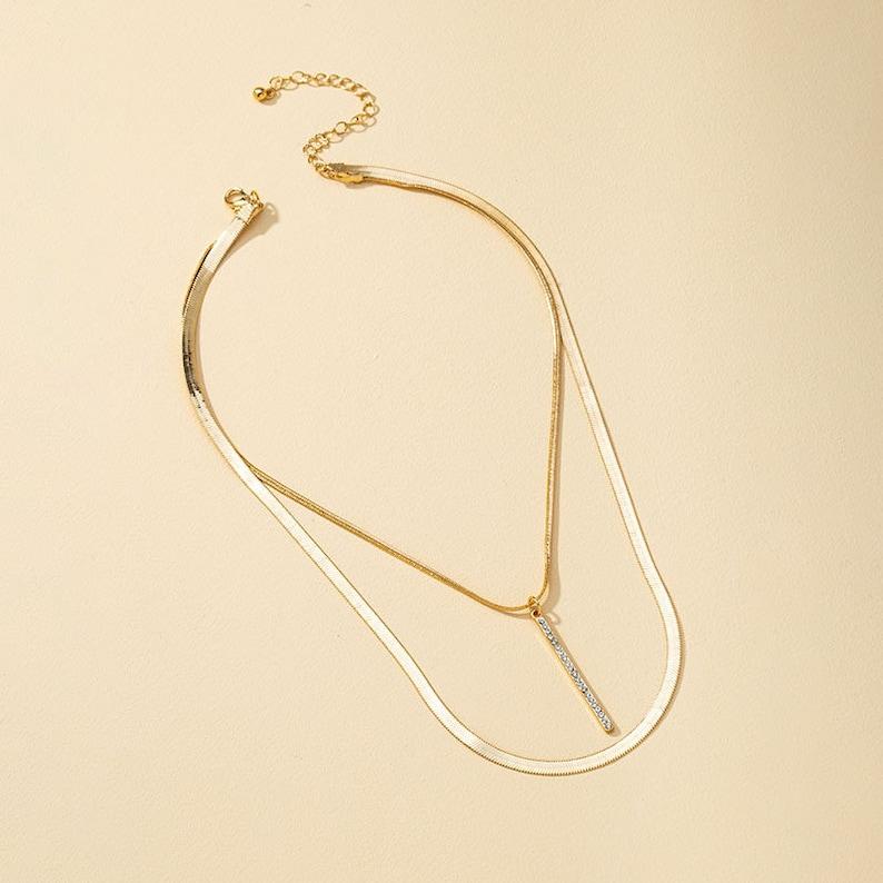 Classy Multi Strand One Clasp Tassel Pendant Herringbone Necklace Simple Layer Herringbone Necklace