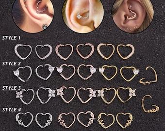 Crystal Heart Daith Ear Cuff for Left or Right Ear