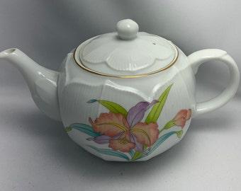 Paden City Tea Pot Modern Orchid 22Kt Gold Exc Condition Ceramic USA Made Rare