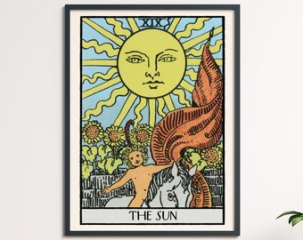 The Sun - Tarot Card Print, Printable Wall Art, Tarot Cards, Zodiac Wall Art, Antique Print, Tarot Poster, Occult Print, Instant Download