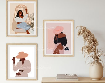 Boho Women Art Print Set