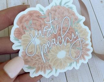 Just Peachy Floral Sticker/ Sticker Aesthetic/ Waterproof Sticker/ Laptop Sticker/ Stickers for Hydrflask/ Waterbottle Stickers