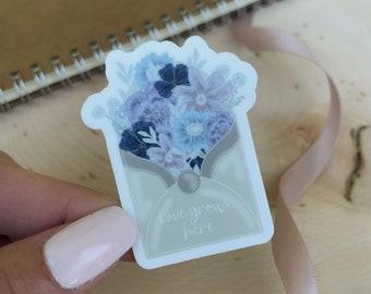 Floral Envelope Sticker/ Waterproof Sticker/ Sticker Pack/ Stickers for Hydro Flask/ Waterbottle Stickers/ Cute Sticker