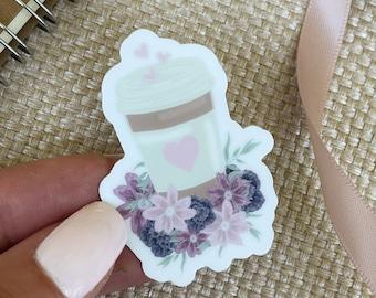 Floral Coffee Sticker/ Latte Sticker/ Aesthetic Sticker/ Flower Sticker/ Stickers for Hydroflask/ Water Bottle Sticker/ Sticker Pack