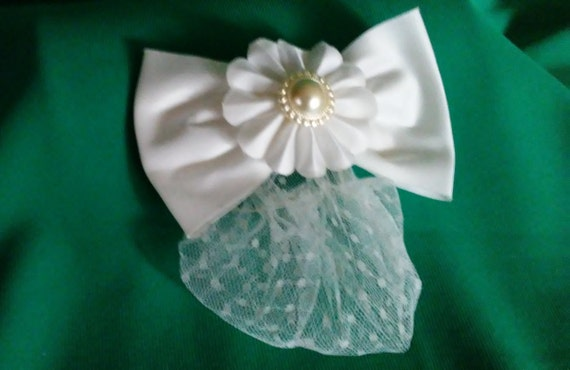 Vintage Satin Butterfly Hairbow with Snood, 90's