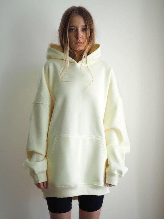 Oversized White hoodie, Women Hooded Sweater Top, Aesthetic clothes, Autumn Kangaroo Sweatshirt, Thanksgiving Gift, Streetwear