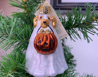 Old World Christmas Halloween Ghost Puppy Ornament!
