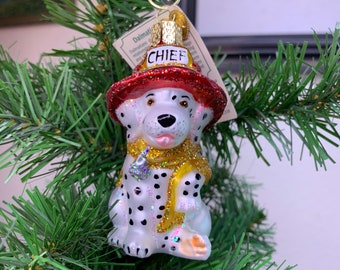 Old World Christmas Fire Chief Dalmatian Puppy Ornament!