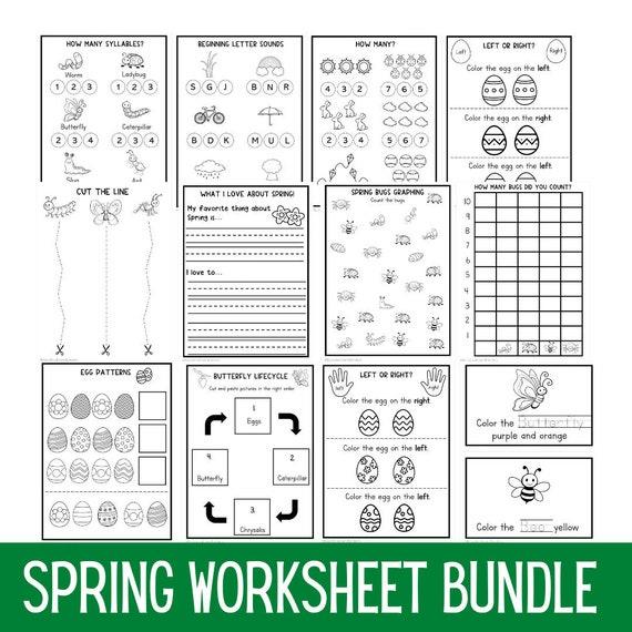 Kindergarten Spring Worksheet Bundle  Preschool Worksheets