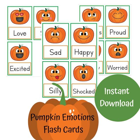 Pumpkin Emotions Flash Cards Flash Cards for Kids Preschool