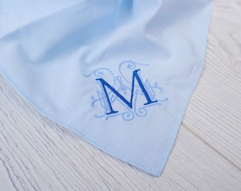 Blue Grey Mothers /& Fathers Day Luxury Handkerchief Personalised Initial Embroidery White Wedding Present Gift for Valentines Day