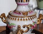Vintage GZHEL Russian Porcelain SAMOVAR with Mini Teapot Elaborate Flowers Gold.