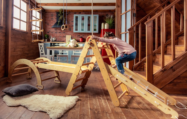 Peuter klim gym 4in1 - Klimdriehoek + Boog + Net klimmer + Slide board - Montessori meubelset