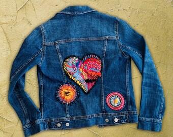 Embroidered Jean Jacket, Ethnic Jacket, Mandala Heart, Boho chic clothing, Embellished, Hipster denim, Perfect gift for yoga lovers