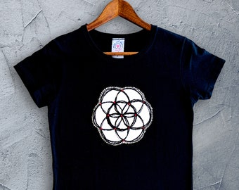 Hand Embroidered shirt, Flower of life yoga shirt, Spiritual Top, Meaningful clothing, Good Energy, Sacred Geometry, Boho Chic style