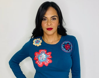Boho chic flower t-shirt, Hand-embroidered t-shirt, Embroidered flowers Blouse, boho chic clothing, boho shirt, embroidered long sleeve top