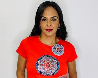 Red embroidered Shirt, Mandala Shirt, Embroidered blouse, Bohemian mandala shirt, Embroidered top, Yoga clothing, Yoga shirt, boho chic tee
