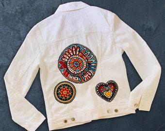 Embroidered Jean Jacket, Ethnic Jacket, Mandala and Heart, Boho chic clothing, Embellished, Hipster denim, Perfect gift for yoga lovers