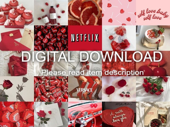 Soft Red Aesthetic Photo Wall Collage Kit 50 Pcs Digital Etsy