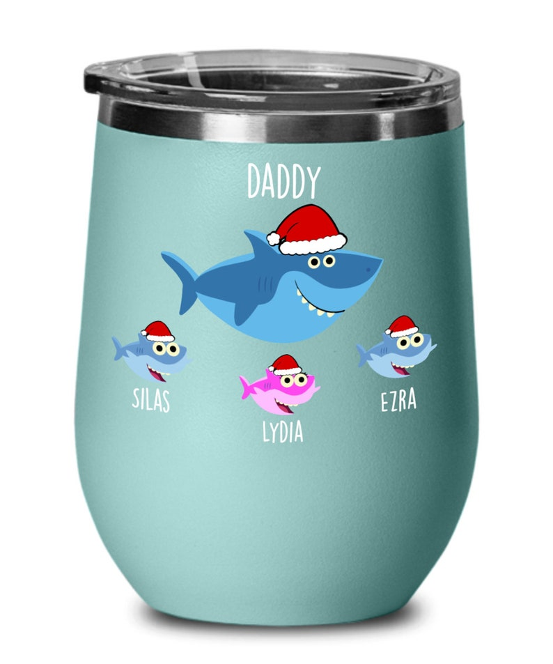 Daddy Shark Wine Glass Papa Shark Gift for Father Day Baby Shark Gift for Dad From Daughter Gift From Son Dad Tumbler Wine Glass from Wife