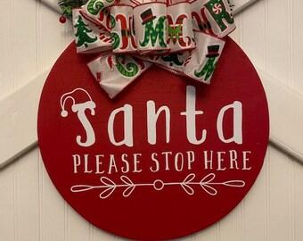 Santa Please Stop Here Noël Extérieur Fenêtre Porte Mur Stickers Vinyl SSH003
